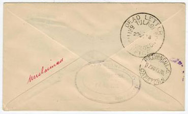 SOLOMON ISLANDS - 1938 RETURN TO SENDER cachet applied on inward first flight cover from South Afric