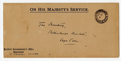BASUTOLAND - 1909 stampless OHMS cover to Cape Town cancelled MASERU.