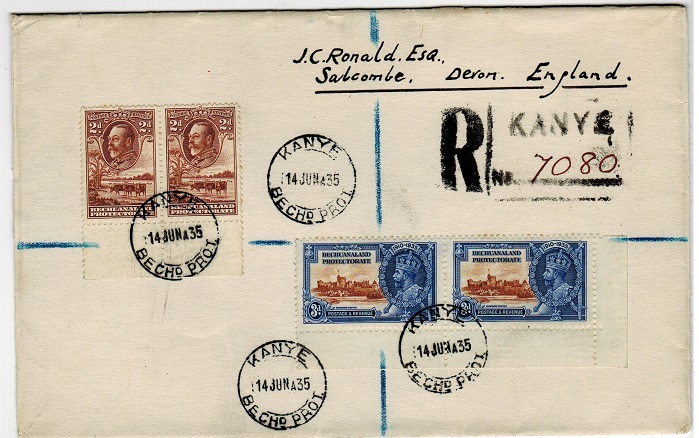 BECHUANALAND - 1935 registered cover to UK with 3d