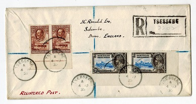 BECHUANALAND - 1935 registered cover to UK with 2d