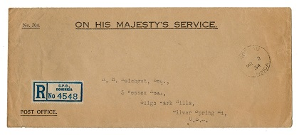 DOMINICA - 1934 registered OHMS cover to USA from ROSEAU.