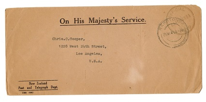 COOK ISLANDS - 1941 OFFICIAL PAID h/s on OHMS cover to USA from RAROTONGA.