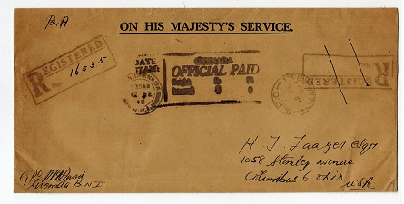 GRENADA - 1949 GRENADA/OFFICIAL PAID/WEIGHT registered OHMS cover to USA.