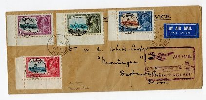 GAMBIA - 1935 set on cover to UK cancelled by BASSE/GAMBIA cds