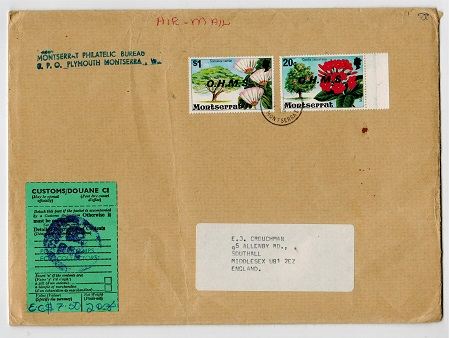 MONTSERRAT - 1976 cover to UK with 20c and $1 OHMS adhesives with MISSING STOPS.