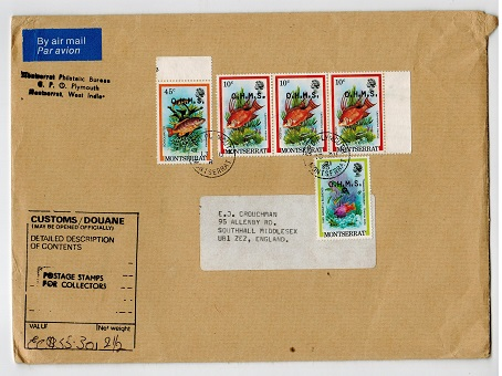 MONTSERRAT - 1981 cover to UK with 10c strip of three, 45c and $3 OHMS adhesives.