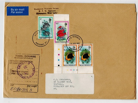MONTSERRAT - 1982 cover to UK bearing 5c,65c and $1 pair of the OHMS adhesives.