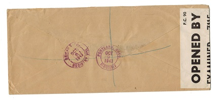SEYCHELLES - 1943 censored registered OHMS to USA with label and unusual