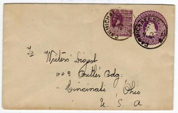 BRITISH GUIANA - 1923 2c PSE used from CARMICHAEL STREET.  H&G 6.