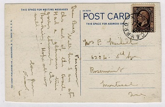 CANADA - 1933 use of picture postcard cancelled by C&V R.P.O. railway strike.