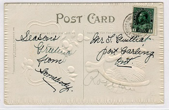 CANADA - 1912 use of picture postcard cancelled by TORONTO & OWEN SOUND R.P.O. strike.