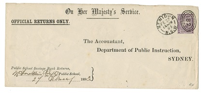 AUSTRALIA (New South Wales) - 1881 1d violet OFFICIAL RETURN O.H.M.S. envelope used.