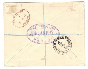 NEW GUINEA (N.W.P.I.) - 1917 registered PASSED BY CENSOR/RABUAL cover to UK.