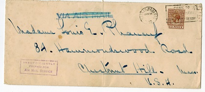 BAHAMAS - 1933 INSUFFICIENTLY/PREPAID FOR/AIR MAIL SERVICE cover to USA from NASSAU.