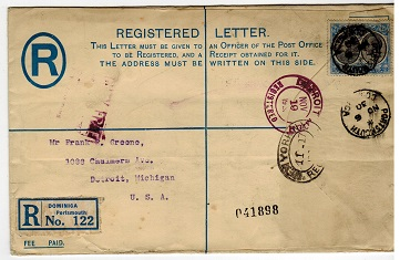 DOMINICA - 1930 use of FORMULA registered envelope from PORTSMOUTH.
