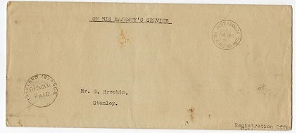 FALKLAND ISLANDS - 1950 OFFICIAL PAID local cover to Stanley.