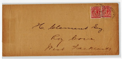 FALKLAND ISLANDS - 1926 local 2d rate cover to Roy Cove from PORT STANLEY.