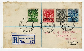FALKLAND ISLANDS - 1931 registered cover to UK from SOUTH GEORGIA.