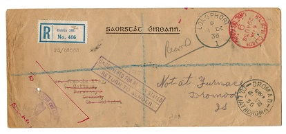 IRELAND - 1936 BLATH CLIATH/9/OFFICIAL PAID cover sent from LONGPHORT.