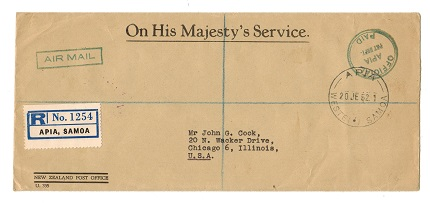 SAMOA - 1952 OFFICIAL/APIA/P&T/PAID registered cover to USA from APIA.