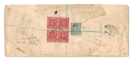 BRITISH EAST AFRICA - 1902 OHMS cover to USA with FOREIGN REGISTRATION DEPARTMENT cancel.