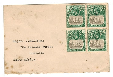 ASCENSION - 1924 cover to South Africa with 1d Blkx4 showing CLEFT ROCK variety.  SG 11c.