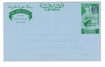 Br.PO.IN E.A. (Sharjah) - 1966 20np unused airletter with bars. Kessler 7.