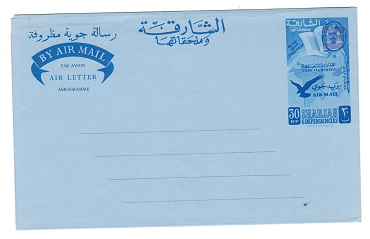 Br.PO.IN E.A. (Sharjah) - 1966 30np unused airletter with bars. Kessler 8.