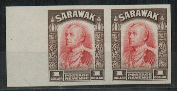 SARAWAK - 1934 $1 (SG type 21) IMPERFORATE PLATE PROOF pair.