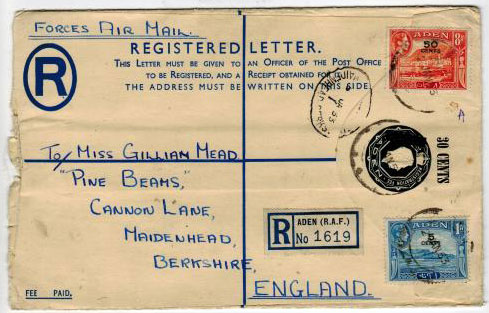 ADEN - 1952 30c on 3a RPS envelope used. H&G 2a.