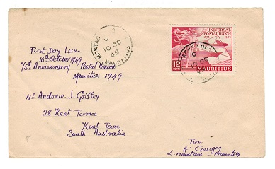 MAURITIUS - 1949 12c UPU cover to Australia from MONTAGNE LONGUE.