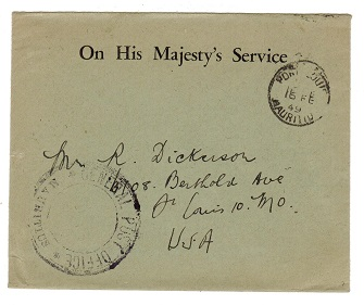 MAURITIUS - 1949 OHMS use to USA with GENERAL POST OFFICE cachet.