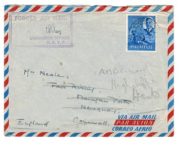 MAURITIUS - 1953 FORCES AIR MAIL cover to UK.