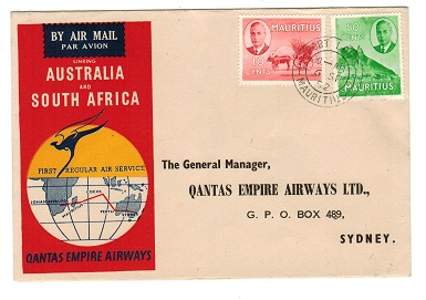 MAURITIUS - 1952 QANTAS EMPIRE AIRWAYS first flight cover to Australia.