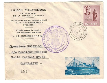 MAURITIUS - 1953 illustrated LABOURDONNAIS-1st VOYAGE cover to Madagascar.