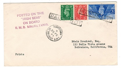 ST.VINCENT - 1952 PAQUEBOT cover to USA from KINGSTOWN.
