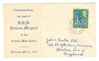 ST.VINCENT - 1955 VISIT OF H.R.M.PRINCESS MARGARET cover to UK at 4c rate.