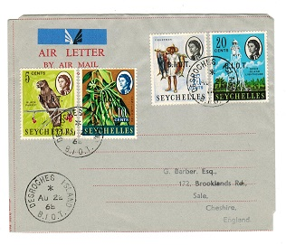 B.I.O.T. - 1968 philatelic use of FORMULA air letter to UK from DESROCHES ISLAND.
