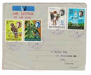 B.I.O.T. - 1968 philatelic use of FORMULA air letter to UK from FARQUHAR ISLAND.