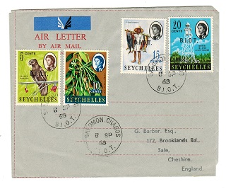 B.I.O.T. - 1968 philatelic use of FORMULA air letter to UK from SALOMON CHAGOS.