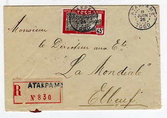TOGO (French) - 1925 registered cover to France used at ATAKPAME.