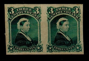 NEWFOUNDLAND - 1868 3c IMPERFORATE PLATE PROOF pair in blue-green.