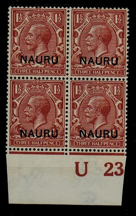 NAURU - 1923 1 1/d red-brown U/M plate