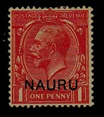 NAURU - 1916 1d bright scarlet mint with SHORT LEFT LEG TO N variety.  SG 2.