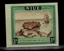 NIUE - 1950 1d IMPERFORATE PLATE PROOF.