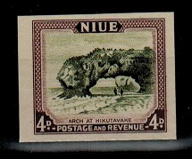 NIUE - 1950 4d IMPERFORATE PLATE PROOF.