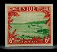 NIUE - 1950 6d IMPERFORATE PLATE PROOF.