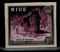 NIUE - 1950 1/- IMPERFORATE PLATE PROOF.