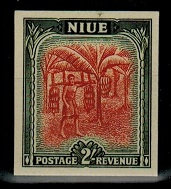 NIUE - 1950 2/- IMPERFORATE PLATE PROOF.