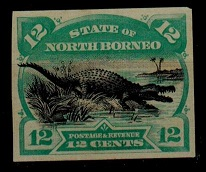 NORTH BORNEO - 1894 12c IMPERFORATE PLATE PROOF.